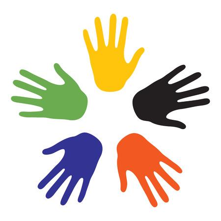 Hand podpisuje z kolorów z pięciu kontynentów. Vector-Illustration