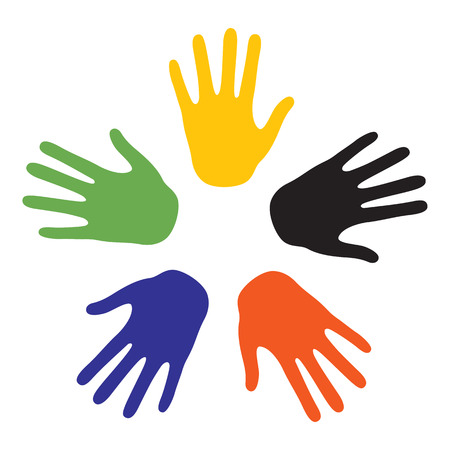 5 people: Hand signs with the colors of the five continents. Vector-Illustration