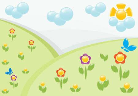 Summer landscape with flowers. Vector-Illustration Vector