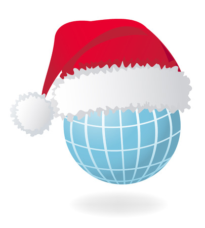 Globe with Santas red hat. Vector illustration Vector