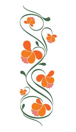 レトロな花柄のデザイン。図