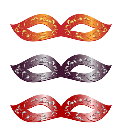 carnival costume: 3 versions of carnival masks. Illustration