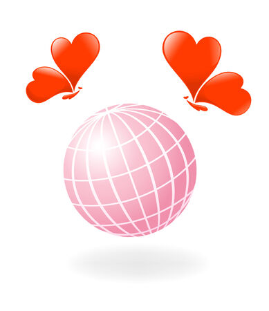 Love-Planet. Globe with the heart-butterfly. Illustration Vector