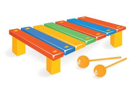 xylophone: Xil�fono de madera con maza. Vector-ilustraci�n