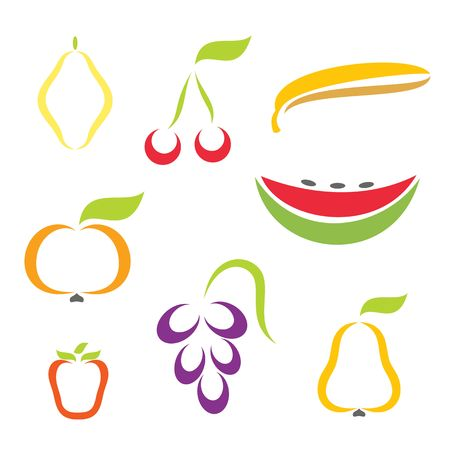 Silhouette icons of vaus fruit.  Stock Vector - 6823497