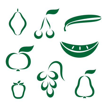 Silhouette icons of various fruit Stock Vector - 6823484