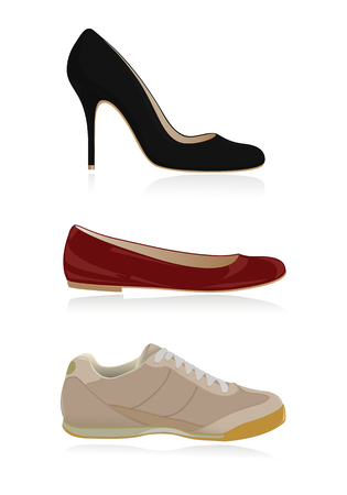 walking shoes: Set of classical women shoes Illustration
