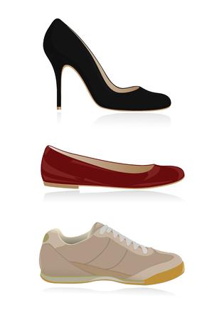 shoe strings: Set of classical women shoes Illustration