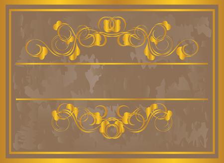 Vintage frame in gold. Symmetric inward  Vector