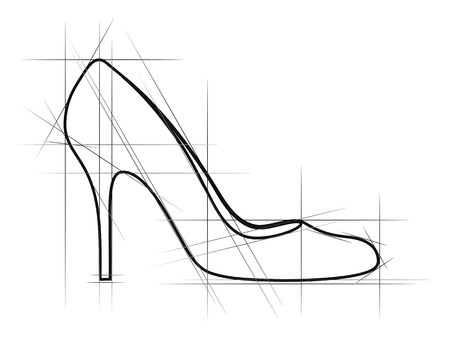 upmarket: Sketch of women shoe. Vector-Illustration