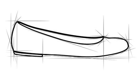 flat shoes: Sketch of women shoe. Vector-Illustration