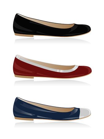 flat shoes: Set of classical women shoe, flat, ballerina. Vector-Illustration