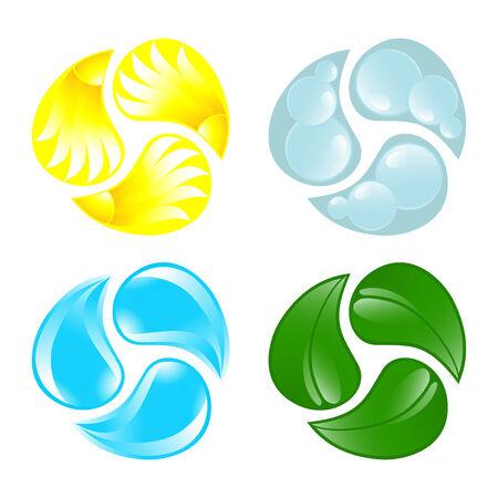 cuatro elementos: Cuatro de los elementos. Fuego, agua, aire, suelo. Ilustraci�n vectorial