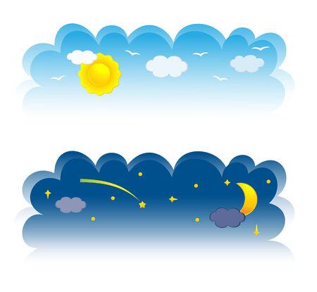 noche y luna: Dos banner del cielo. Ilustraci�n vectorial  Vectores