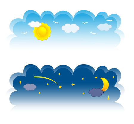 over the moon: Two banner of sky. Vector-Illustration Illustration