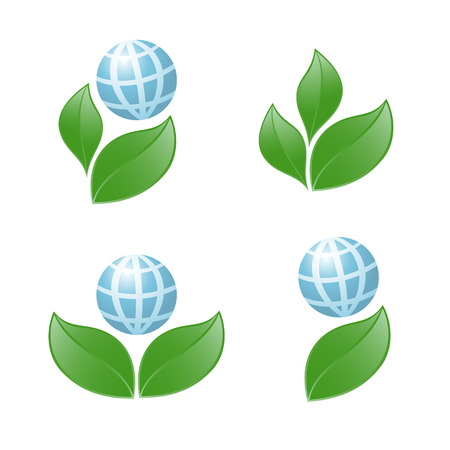 Symbol of globe with the plant. Vector