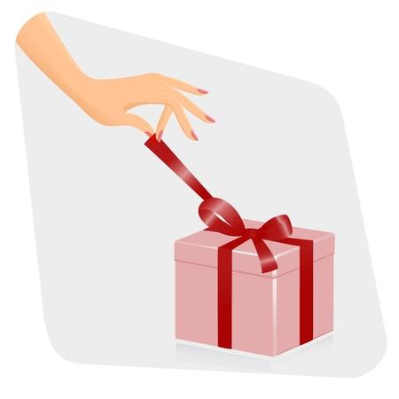 Mano femenina openiing regalo. Vector-Ilustración