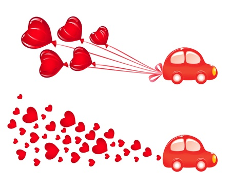 Valentin banner with car. Vector-Illustration Vector