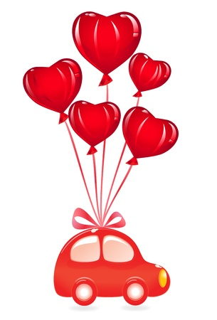The Valentines car with heart-balloon. Vector-Illustration