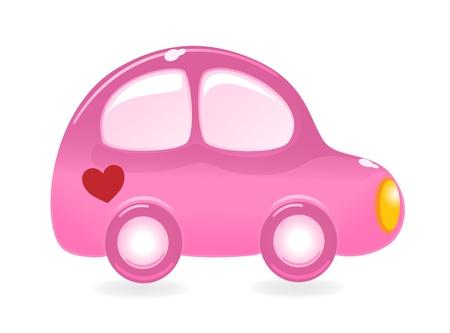 The Valentines car. Vector-Illustration