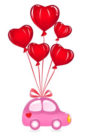 The Valentines Car With Heart Balloon. Vector Illustration Vector