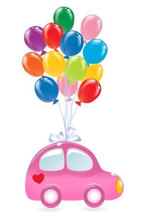 El coche con globos. Vector-Ilustración