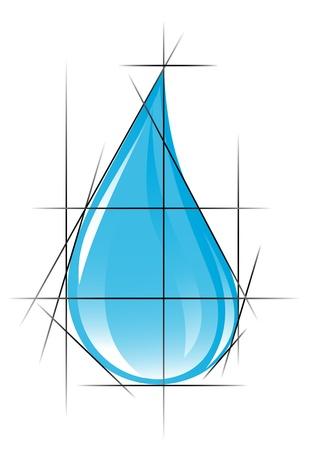 Sketch of clear water drop. Vector-Illustration Vector