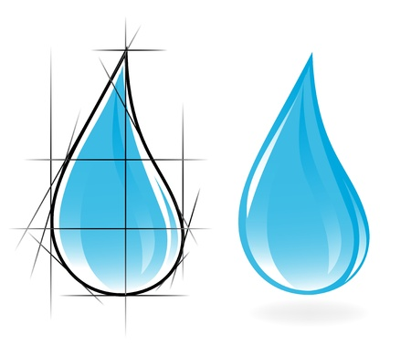 Sketch of clear water drop. Vector-Illustration Stock Vector - 11882342