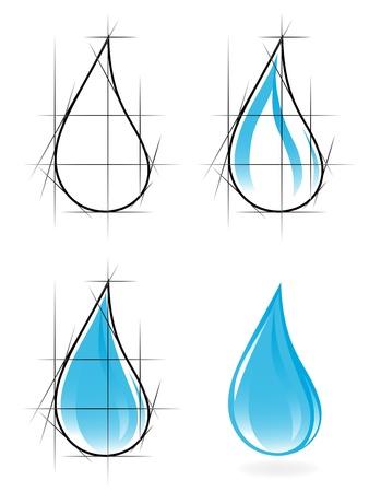 gocce di colore: Sketch di goccia d'acqua limpida. Vector-Illustration