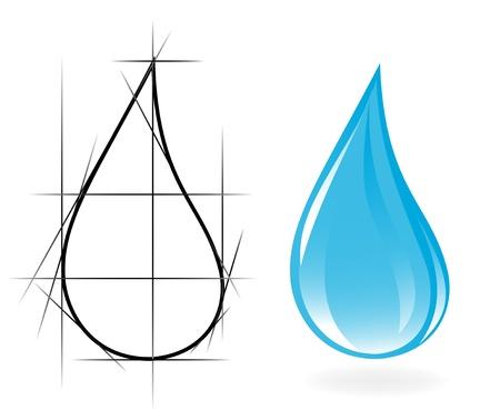flowing water: Boceto de la gota de agua clara. Vector-Ilustraci�n