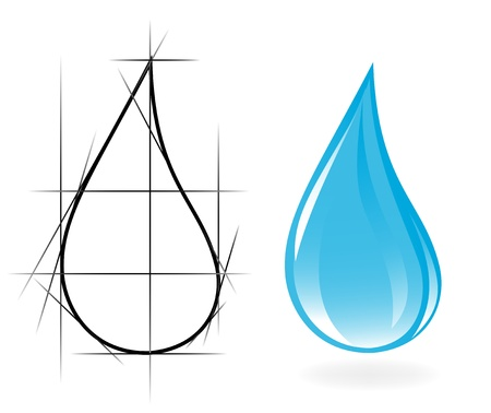 Sketch of clear water drop. Vector-Illustration Illustration