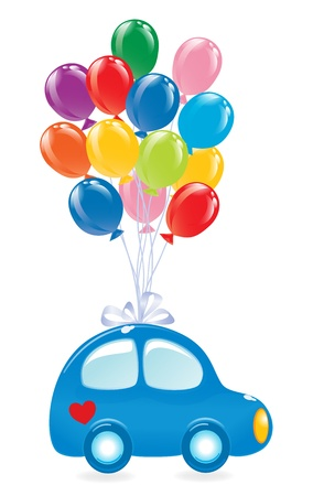 The Car with balloons. Vector-Illustration Çizim