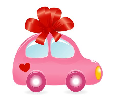 valentin: The Valentines car. Vector-Illustration