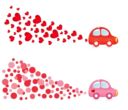 valentin: Valentin banner with car. Vector-Illustration