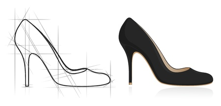 Sketch of women shoe. Vector-Illustration