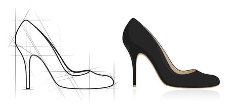 upscale: Sketch of women shoe. Vector-Illustration