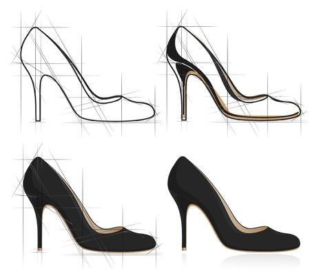 stilettos: Sketch of women shoe. Vector-Illustration