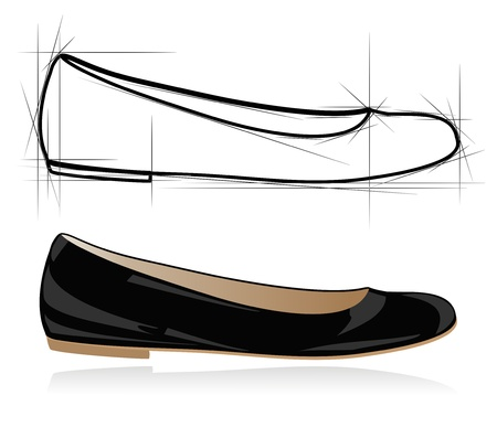 walking shoes: Sketch of women shoe. Vector-Illustration