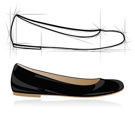beads: Sketch of women shoe. Vector-Illustration