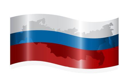 Waving russian flag with map of the Russian Federation. Vector-Illustration Vector
