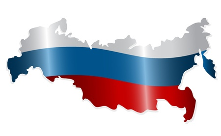 Map of the Russian Federation colored like the Russian flag. Vector-Illustration