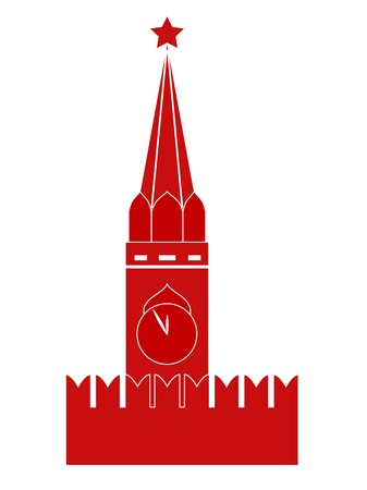 red square moscow: Moscow Kremlin Tower. Vector-Illustration