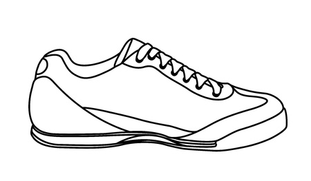 walking shoes: Sketch of casual shoe, sneakers. Vector-Illustration