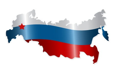 bandera rusia: Mapa de la Federación de Rusia como el color de la bandera rusa. Vector-Ilustración