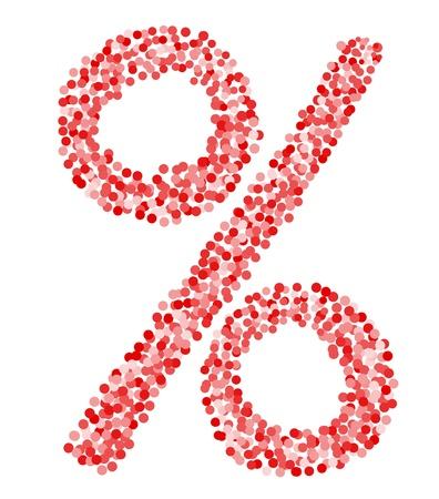 Confetti percentage symbol on isolated white background. Vector-Illustration Vector