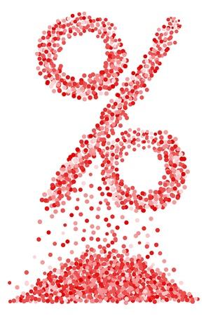 procent: Confetti percentage symbol on isolated white background. Vector-Illustration