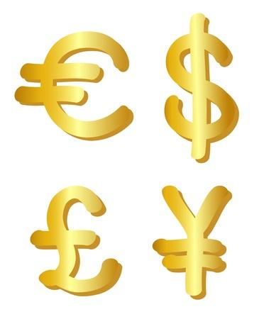 yen: Euro, dollar, pound and yen symbols. Vector-Illustration