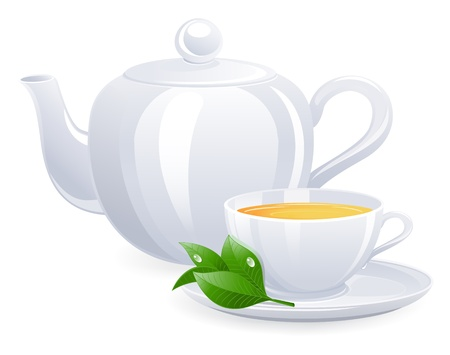 edible leaves: White teacup and teapot with tealeaf