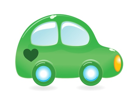 The greens car with heart. Vector