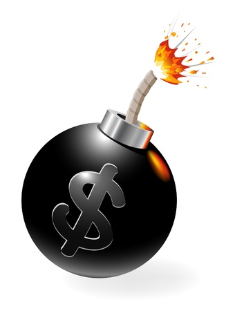 Ignited bomb with dollar-symbol. Stock Vector - 11937092
